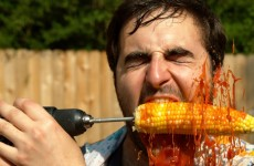 Eating Corn With A Drill In Slow Motion