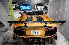 Garage on Tokyo filled with crazy Lamborghinis