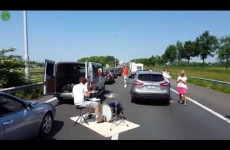 Hero Plays Drums While Stuck In Standstill Traffic
