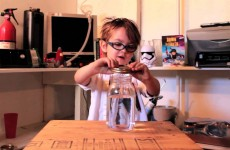 Little Kid Makes Tornado In A Jar Science Experiment
