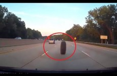 Tire Bounces Down Highway Into Cars Front End