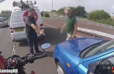 motorcycle-hit-run-van-man-saves-the-day