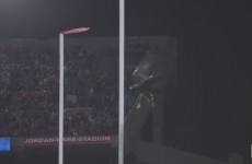 auburns-eagle-crashes-into-goal-post-during-pregame-flight