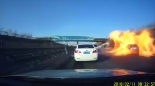Car Drives Over Oil Spill And Unleashes Hell On Earth