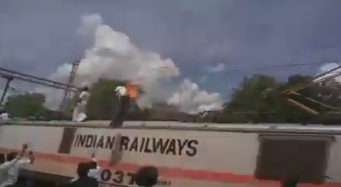 Indian Man Bursts into Flames after He Touches an Electrical Wire