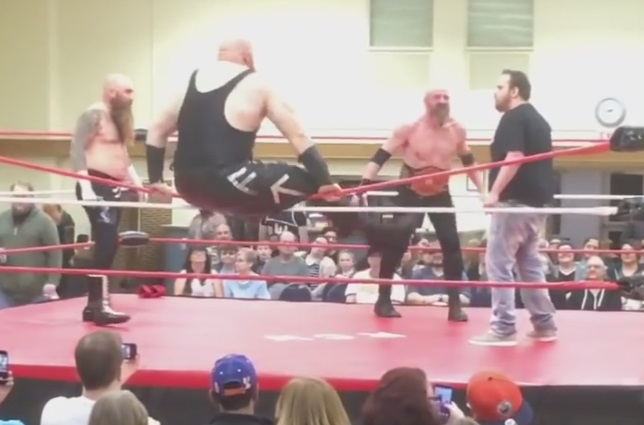 Best Entrance Ever – Huge Wrestler Falls Going Over Top Rope