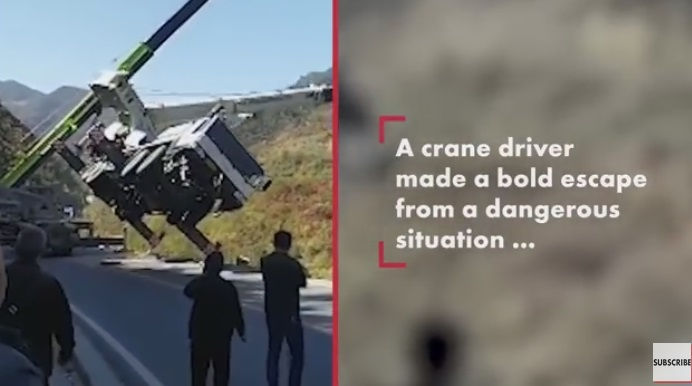 Driver Makes Last Second Escape From Falling Crane