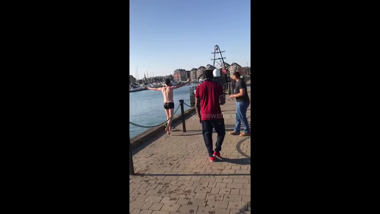 Man Face Plants Concrete Trying to Jump Into Ipswich Dock