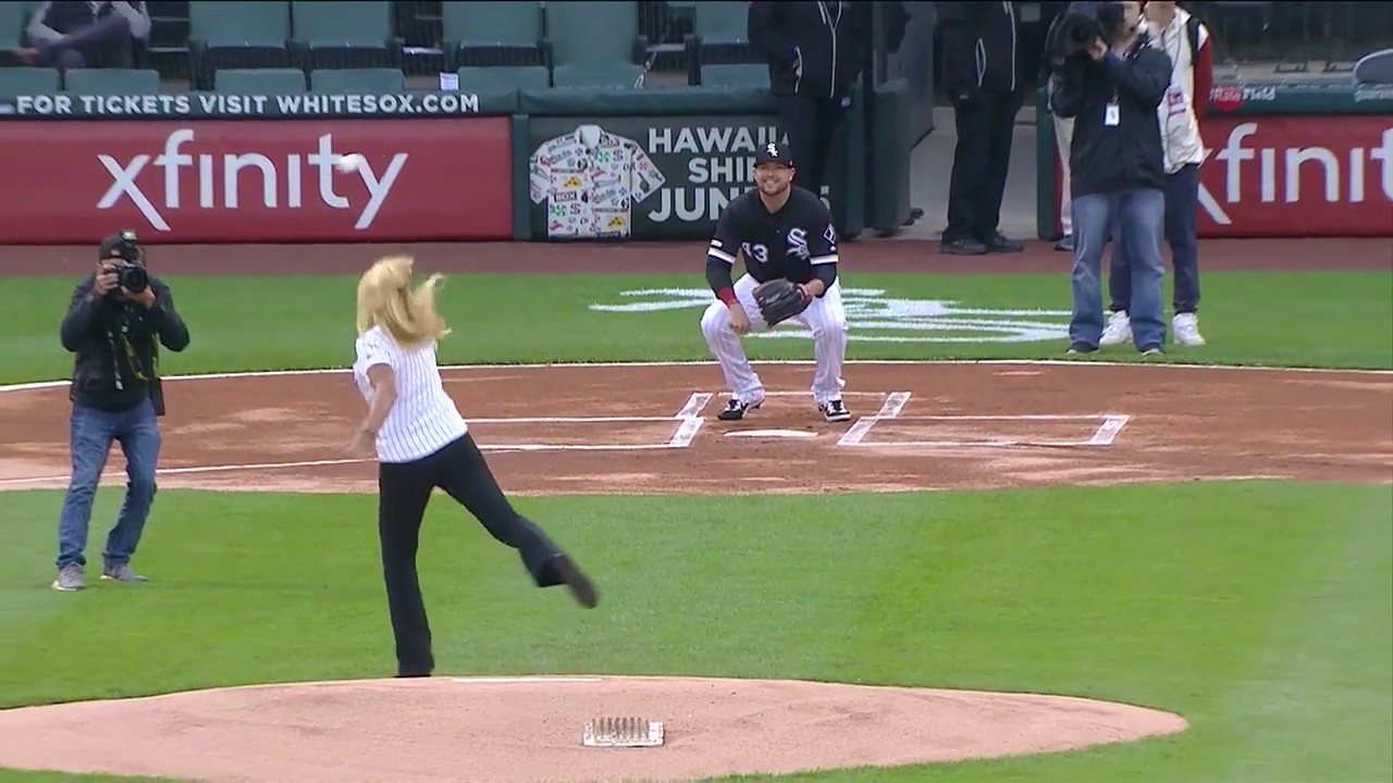 Worst first pitch ever? Photographer gets hit with ceremonial first pitch