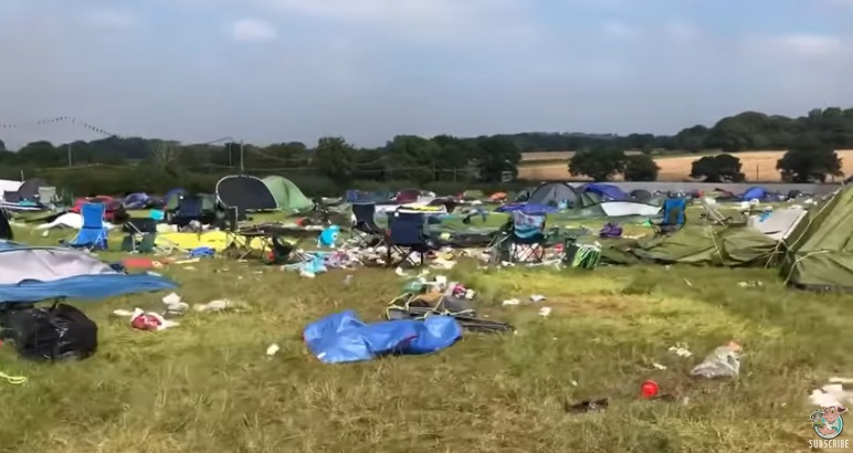 Festival Crowd Leave Filthy Field Behind