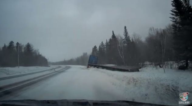 18-Wheeler Loses Control On Icy Road, Spins Out